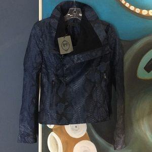 Tov Holy Snakeskin Blue Faux Leather Jack…